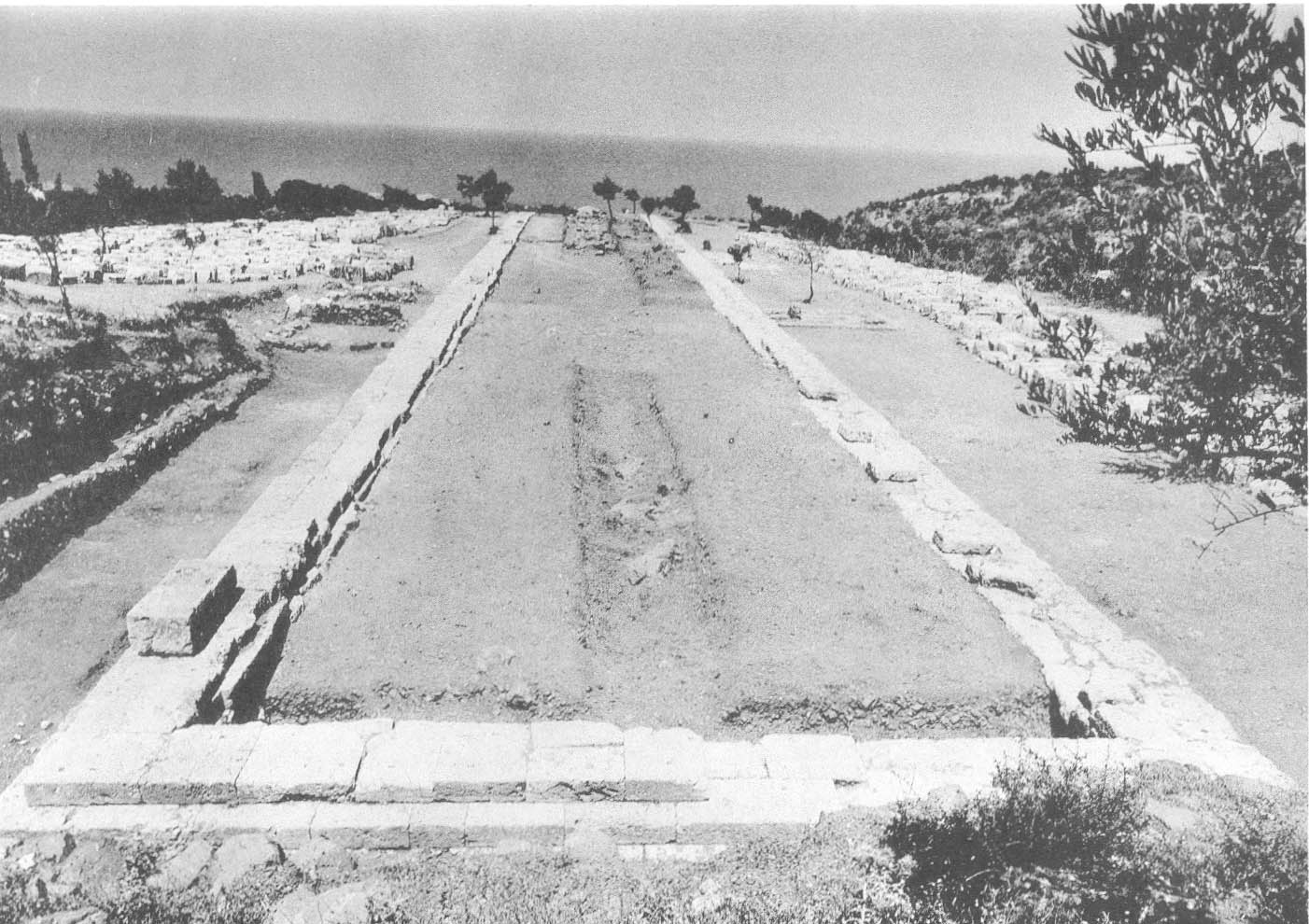 Stoa when first excavated in 1964.